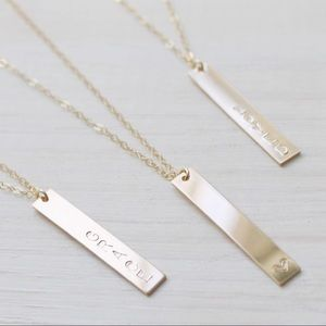 Vertical Customizable Gold Bar Necklace